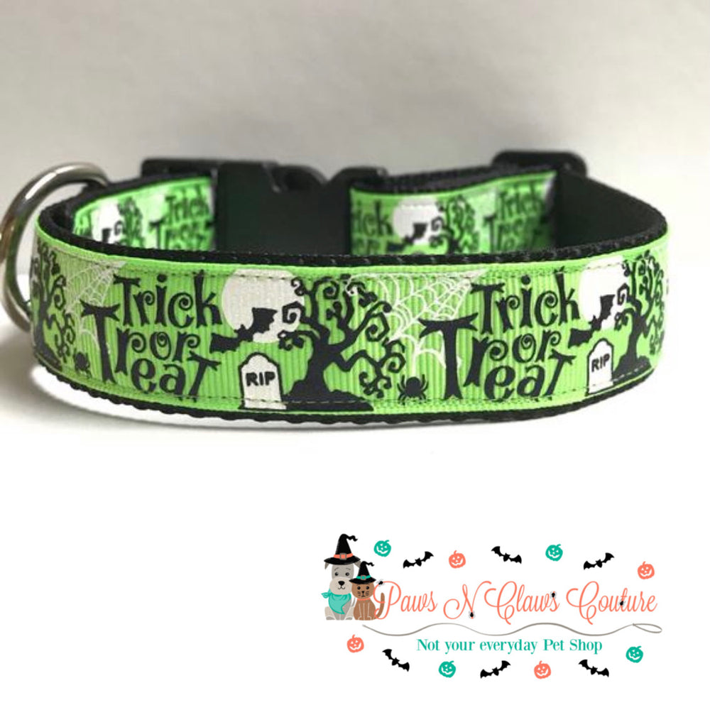 "1"" Trick or treat on green Dog Collar - Paws N Claws Couture"