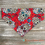 Sugar Skulls on red Bandana - Paws N Claws Couture