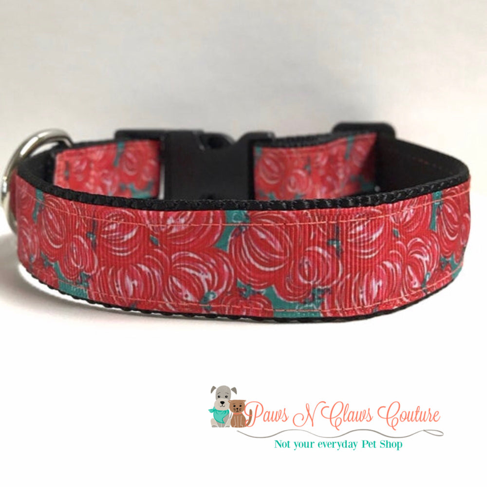 "1"" Lily inspired Pumpkins Dog Collar"