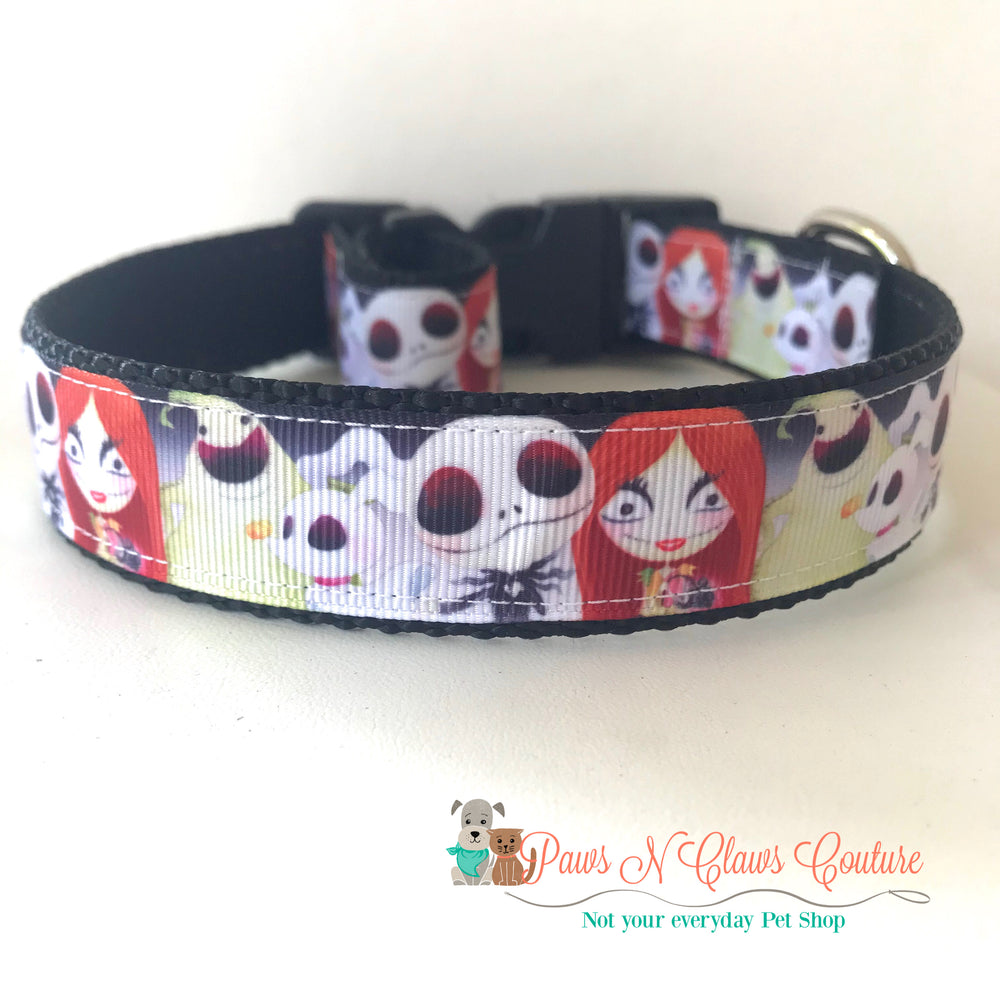 "1"" Jack, Sally and friends inspired Dog Collar - Paws N Claws Couture"