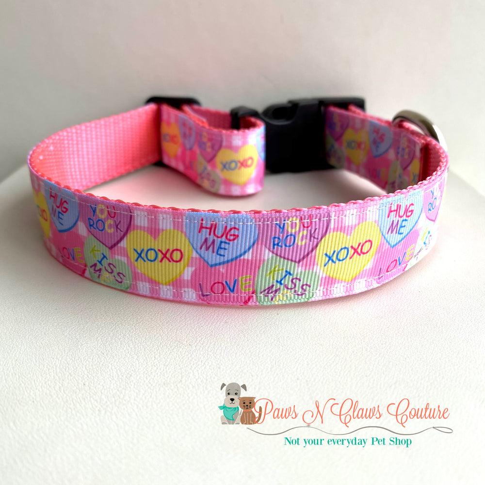 "1"" Pink plaid conversation hearts Dog Collar"