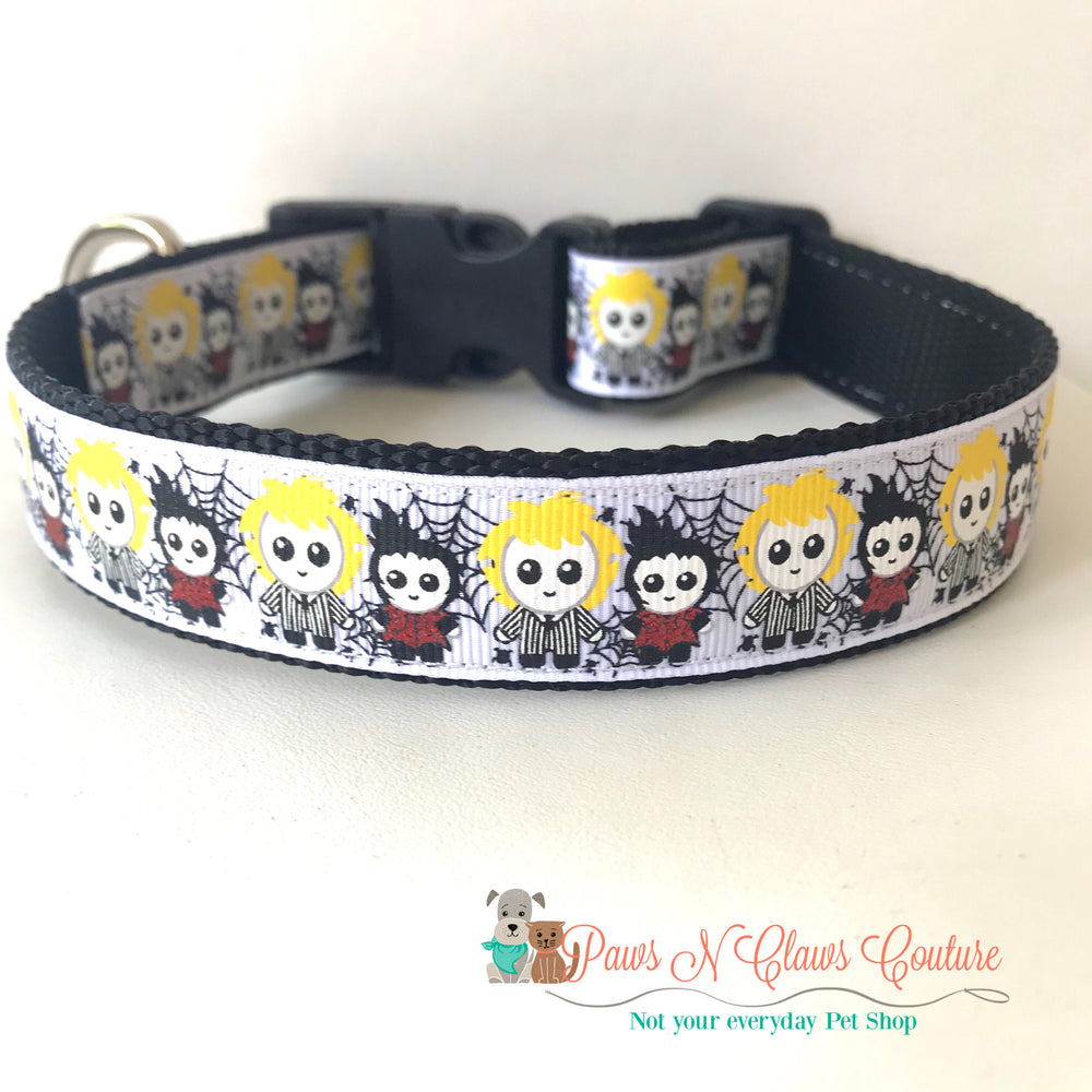 "1"" Beetlejuice and Lydia inspired Dog Collar - Paws N Claws Couture"
