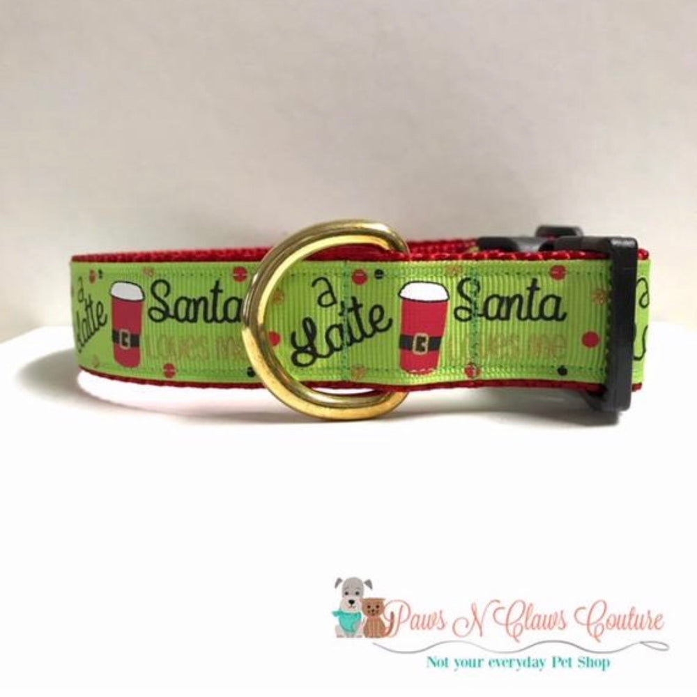 "1"" Santa loves me a latte Dog Collar - Paws N Claws Couture"
