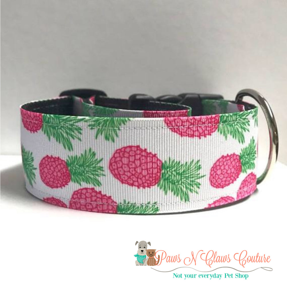 "1.5"" Pink pineapples Dog Collar - Paws N Claws Couture"