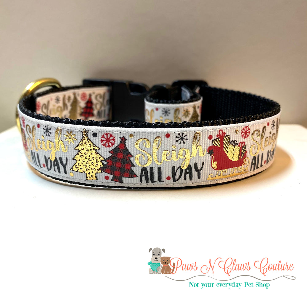 "1"" Sleigh all day Dog Collar - Paws N Claws Couture"