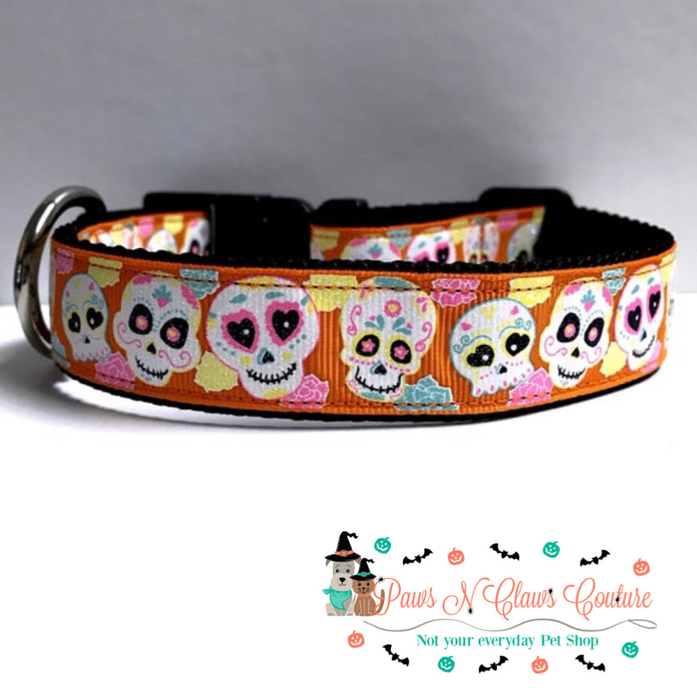 "1"" Sugar Skulls On Orange Dog Collar - Paws N Claws Couture"