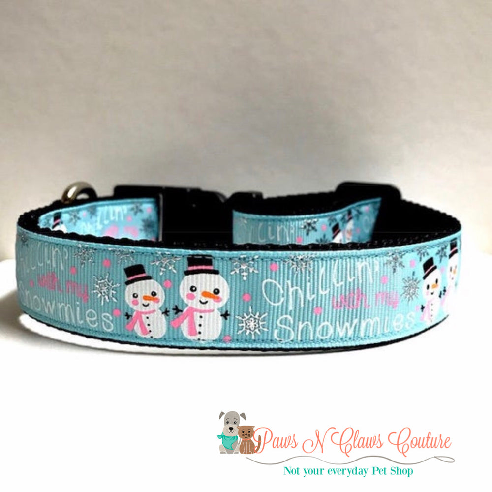 "1""  Chillin with my snowmies Dog Collar"