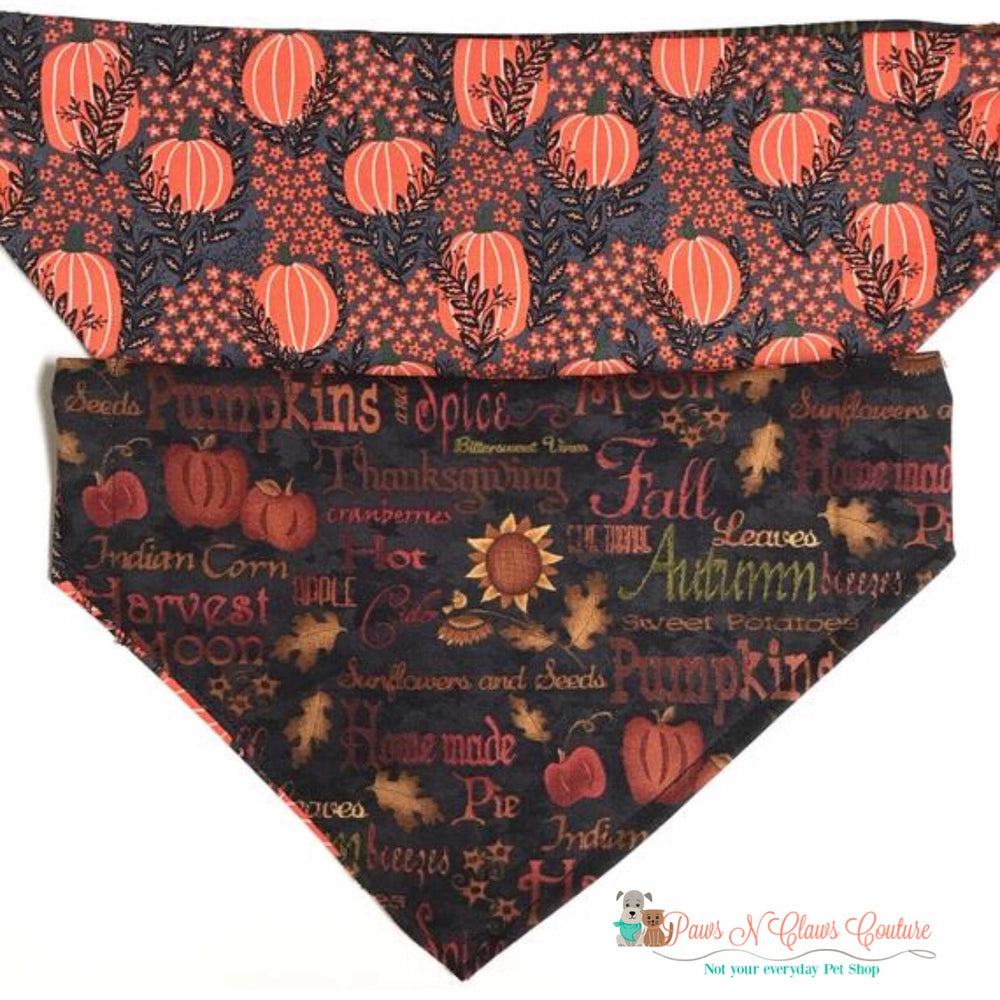 Reversible What I love about fall Bandana - Paws N Claws Couture