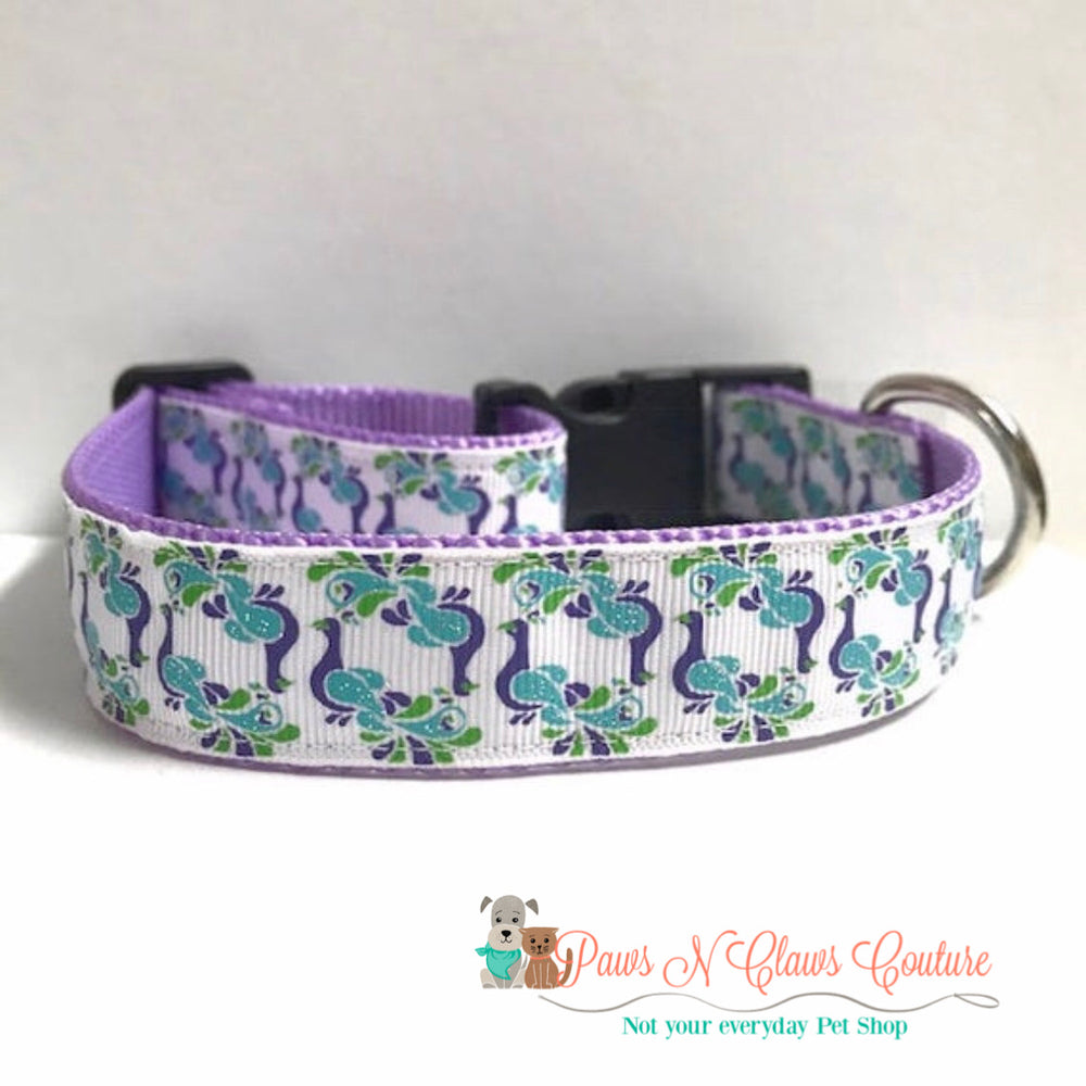 "1"" Peacocks Dog Collar - Paws N Claws Couture"