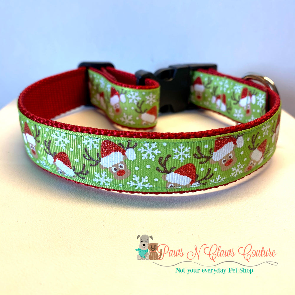 "1"" Santa Hat Reindeer on green Dog Collar - Paws N Claws Couture"