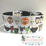 "1"" Trick or treaters or Halloween drinks Dog Collar - Paws N Claws Couture"