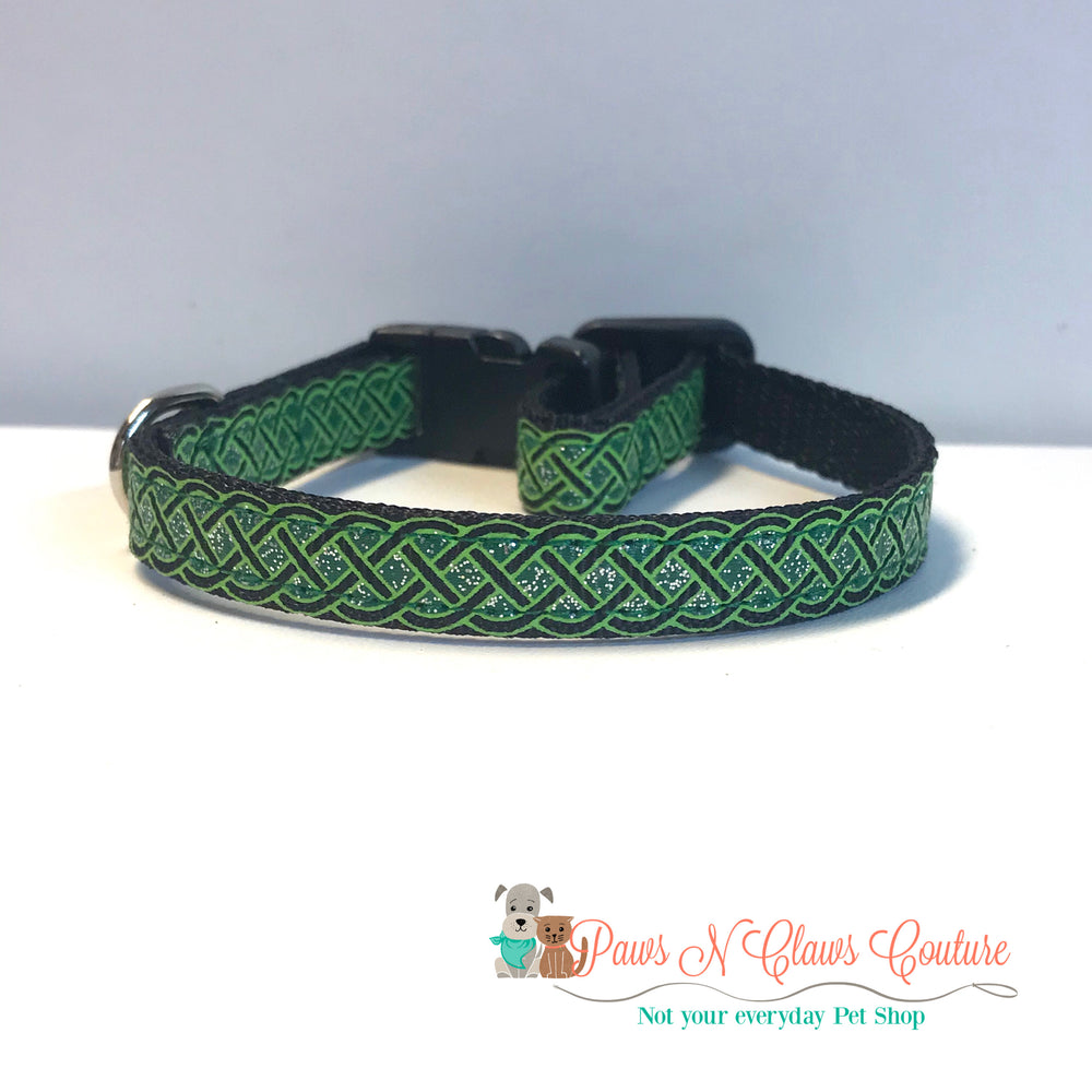"3/8"" Emerald and black Celtic knot Cat or Small Dog Collar - Paws N Claws Couture"