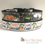 "1"" Want brains or candy oh my Dog Collar"