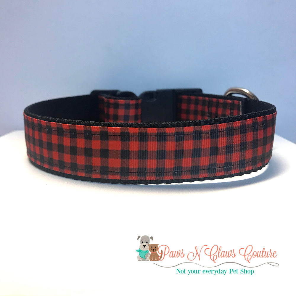 "1"" Red and black buffalo plaid Dog Collar - Paws N Claws Couture"