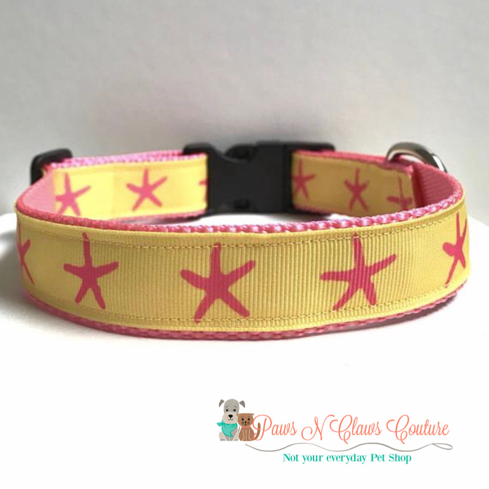 "1"" Pink Starfish on yellow Dog Collar - Paws N Claws Couture"