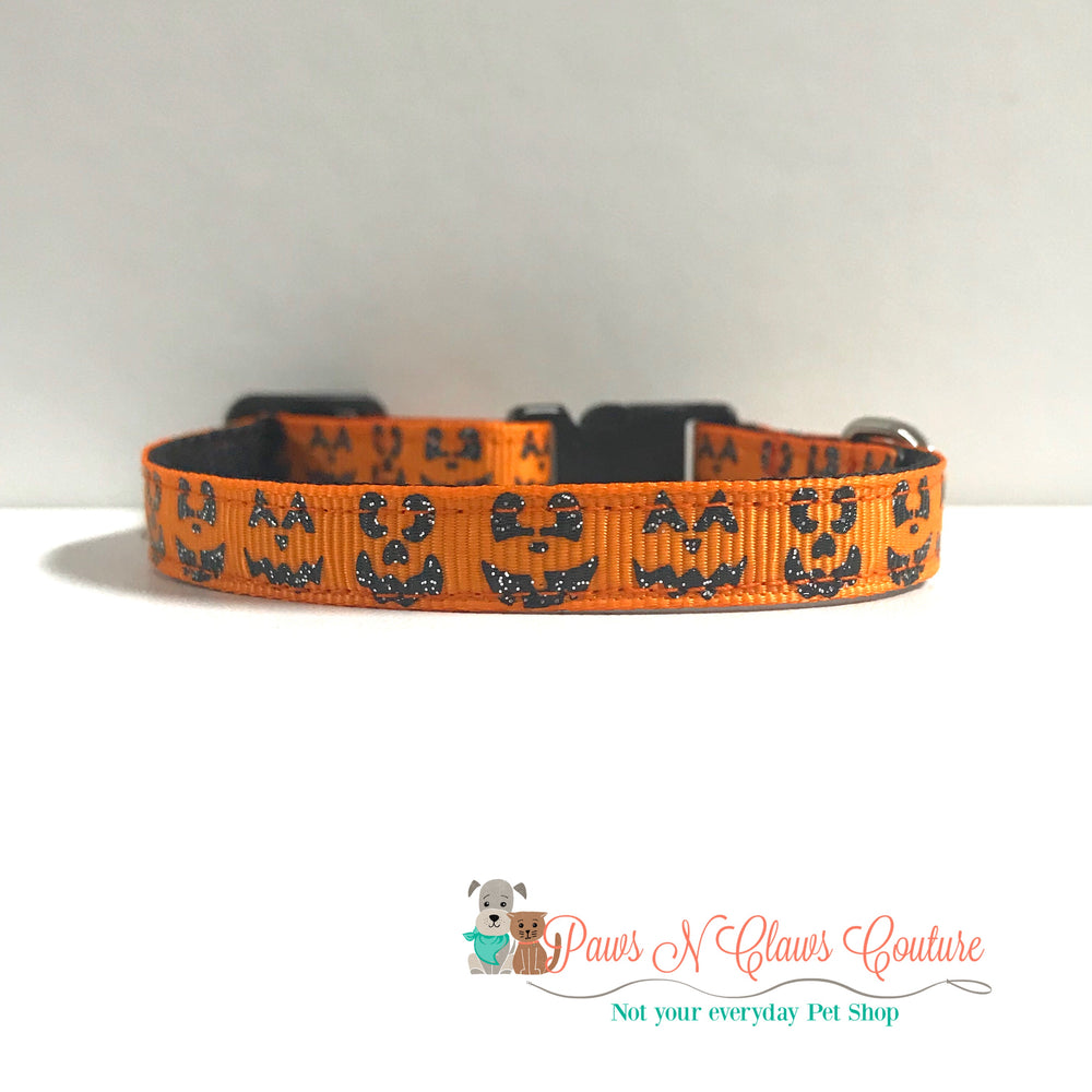 "3/8"" Jack o lanterns Cat or Small Dog Collar - Paws N Claws Couture"