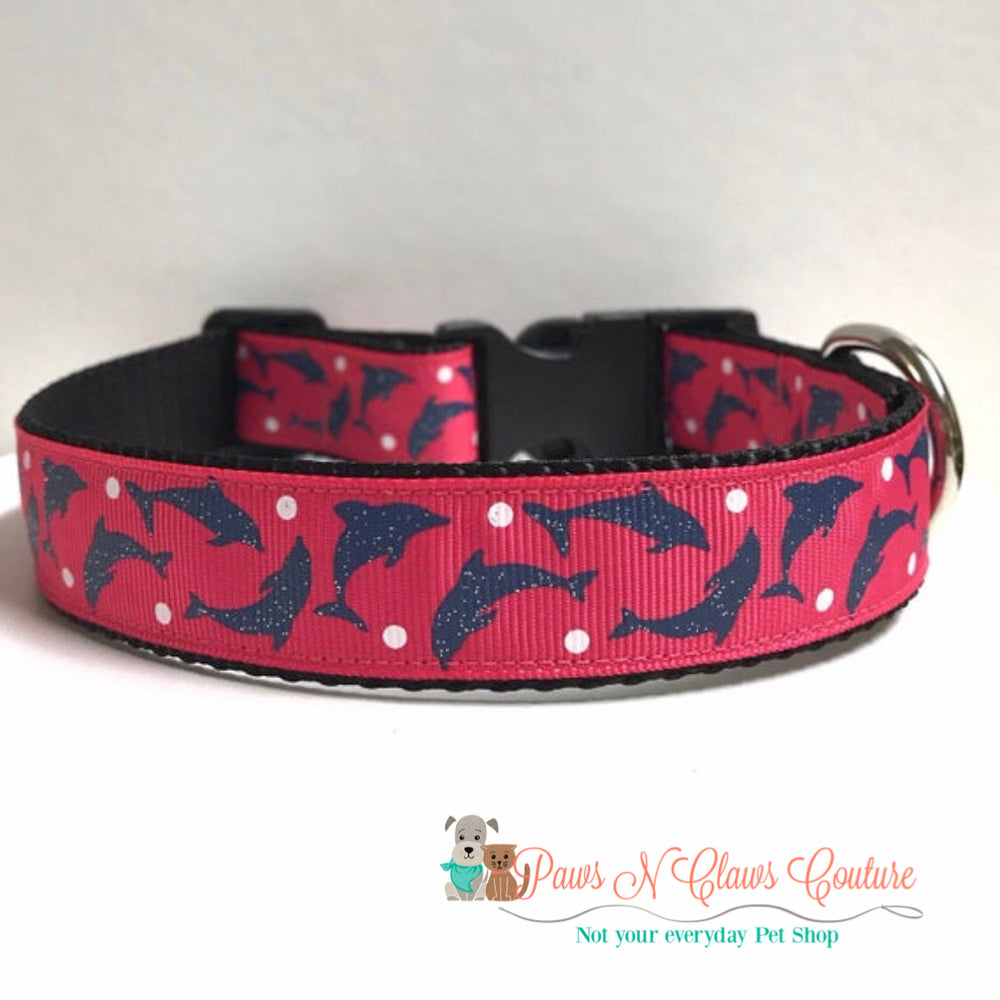 "1"" Dolphins and dots Dog Collar - Paws N Claws Couture"