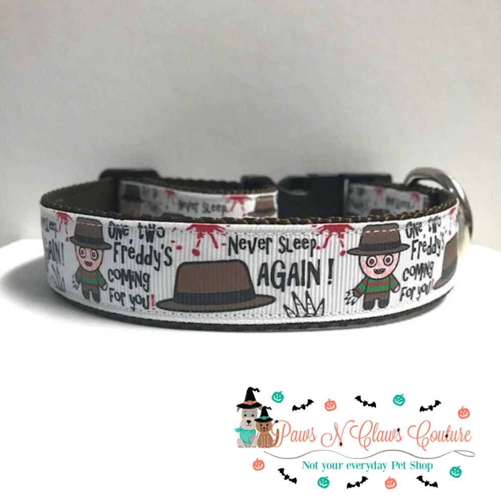 "1"" Never sleep again Dog Collar - Paws N Claws Couture"