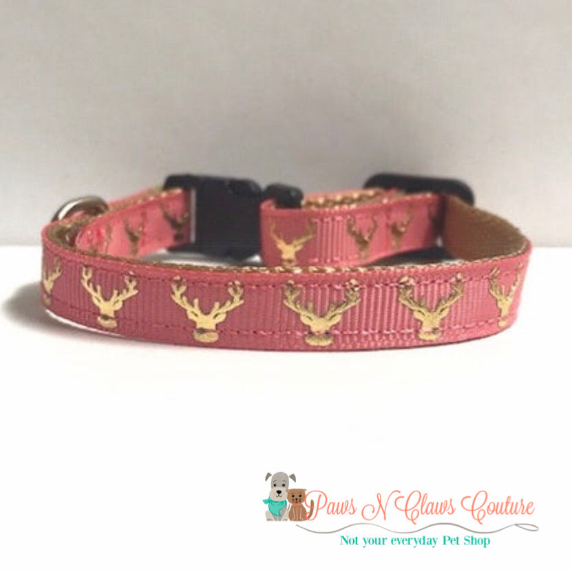 "3/8"" Gold foil deer Cat or Small Dog Collar - Paws N Claws Couture"
