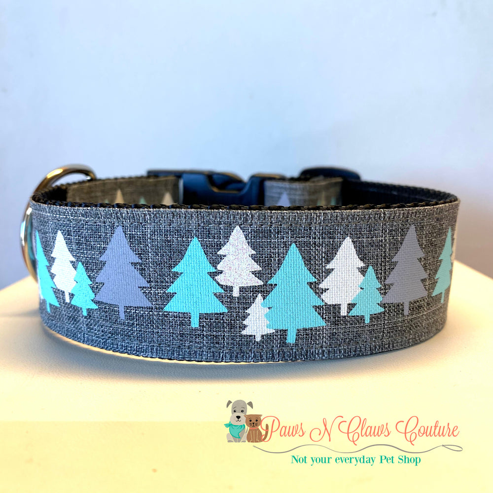 "1.5"" Christmas trees Dog Collar - Paws N Claws Couture"