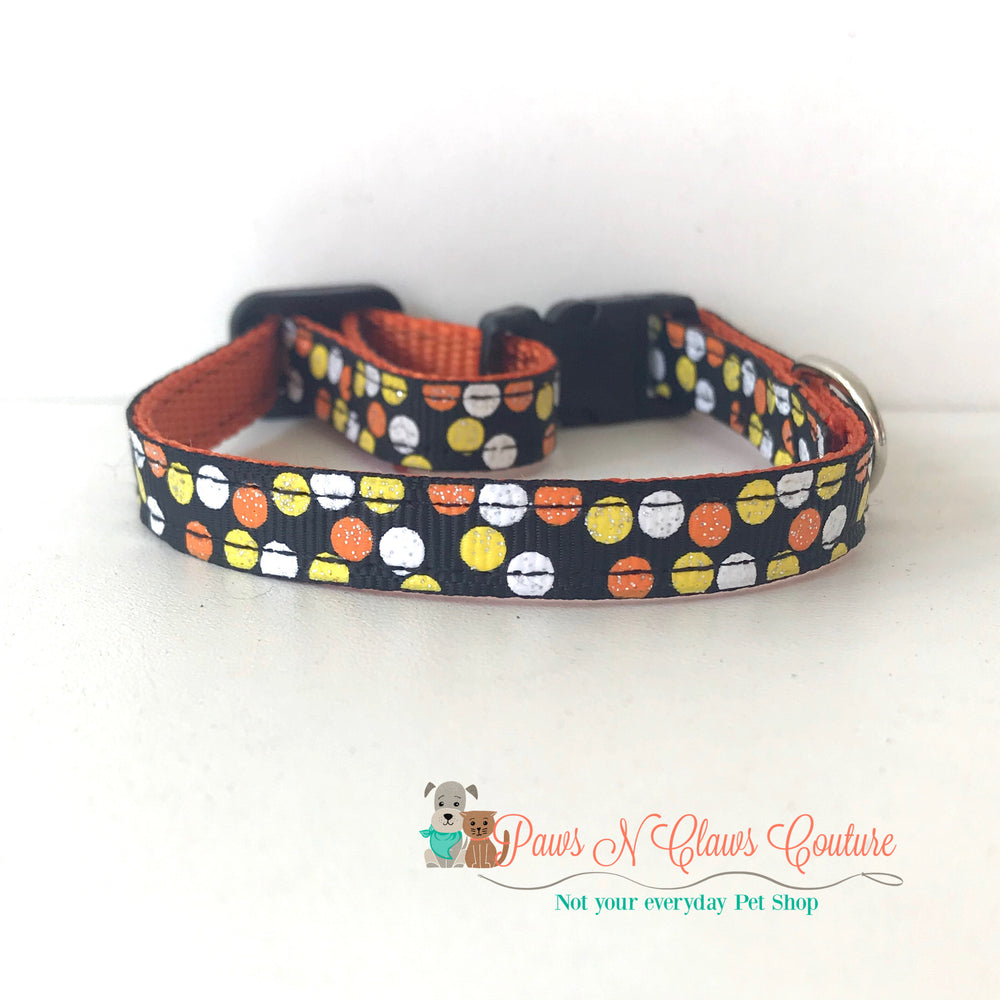 "3/8"" Candy corn dots Cat or Small Dog Collar - Paws N Claws Couture"