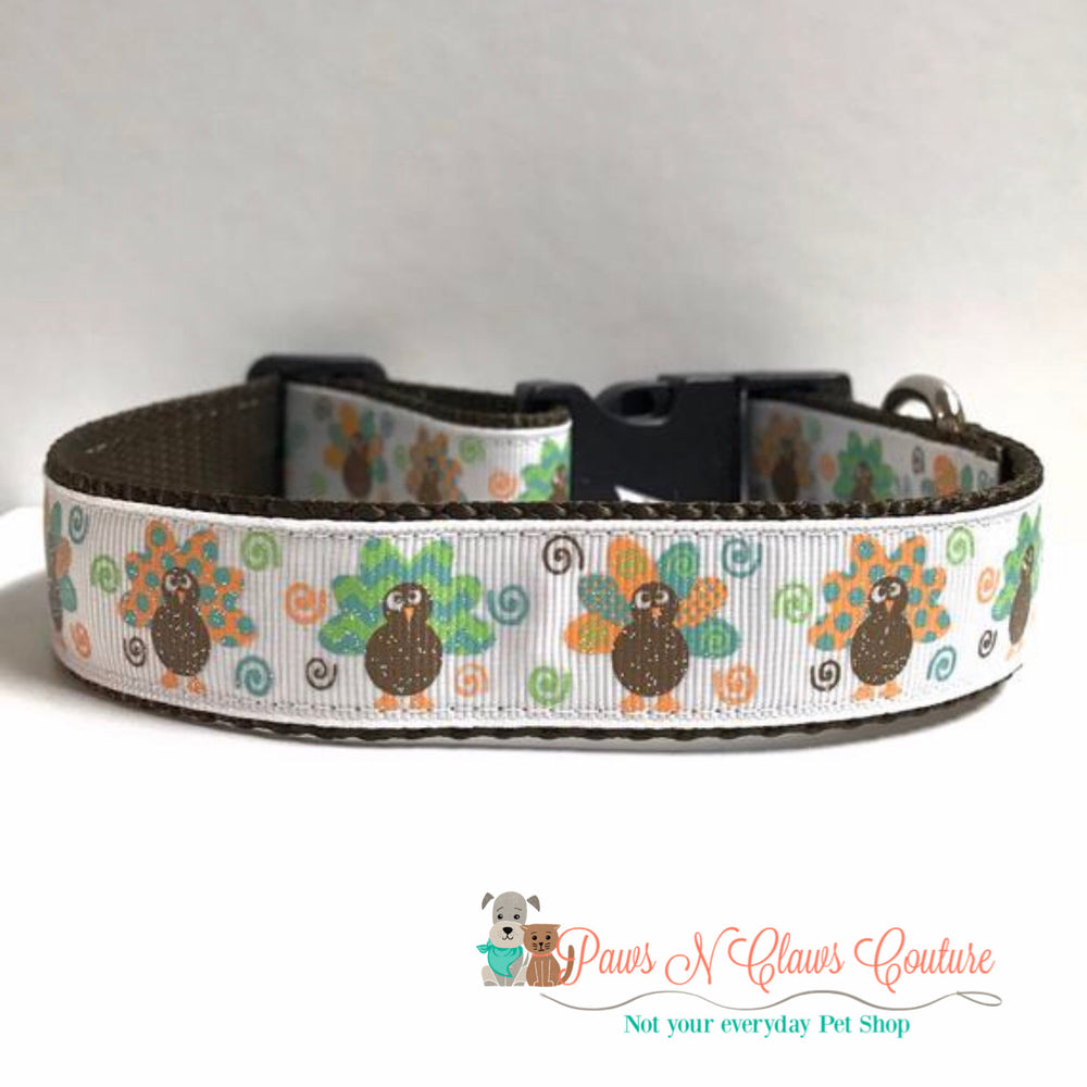 "1"" Chevron, dots and swirl turkeys Dog Collar"
