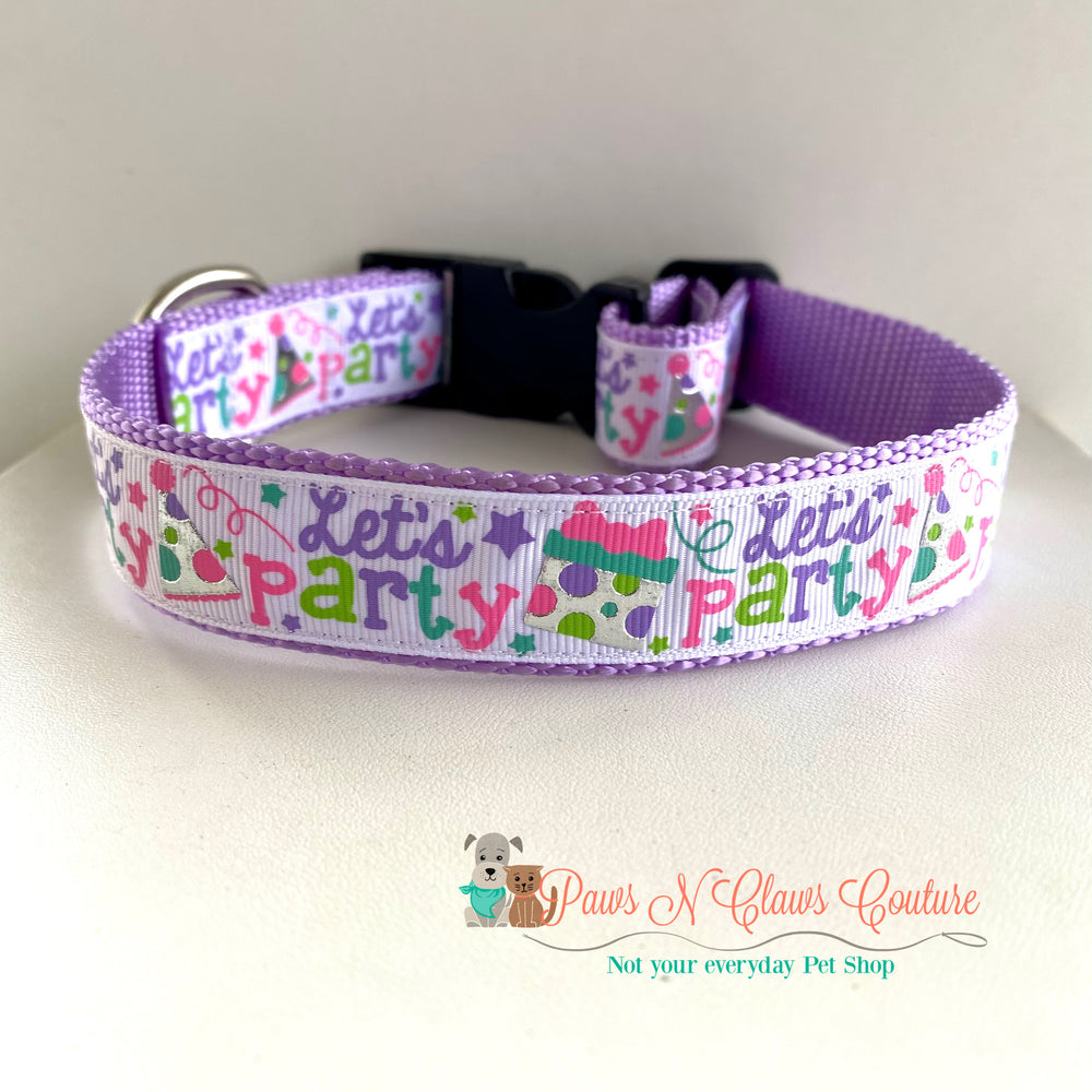 "1"" Let's Party Dog Collar"