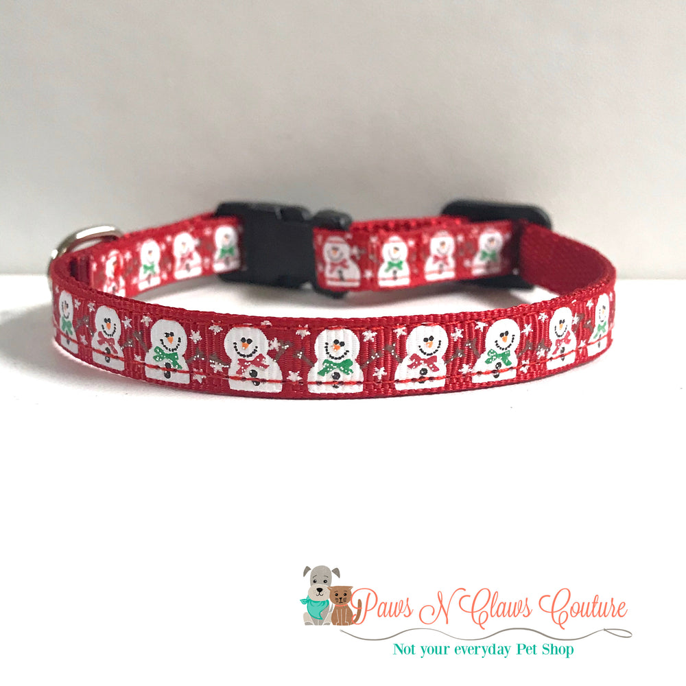 "3/8"" Snowmen on red Cat or Small Dog Collar"