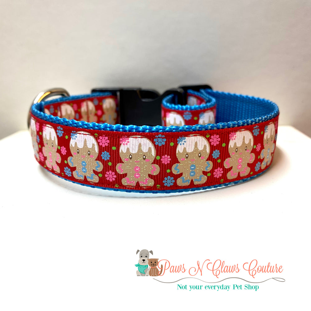 "1"" Gingerbread and snowflakes Dog Collar - Paws N Claws Couture"