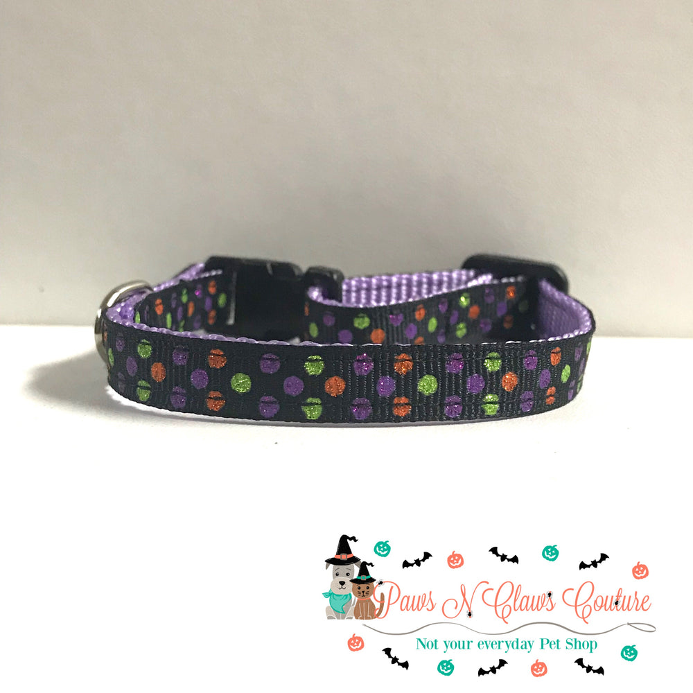 "3/8"" Halloween dots Cat or Small Dog Collar - Paws N Claws Couture"