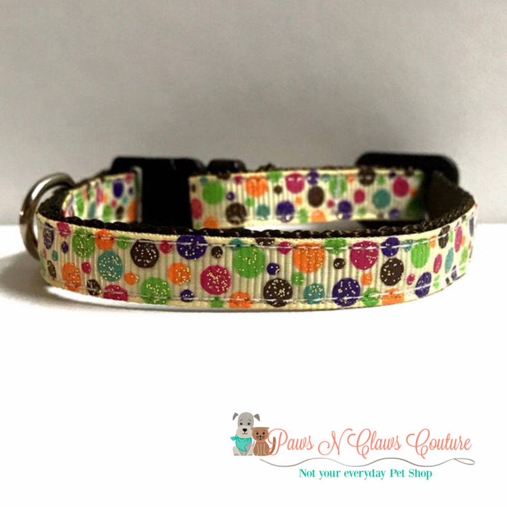"3/8"" Autumn dots Cat or Small Dog Collar - Paws N Claws Couture"