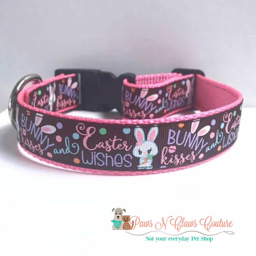 "1"" Easter Wishes and Bunny Kisses Dog Collar - Paws N Claws Couture"
