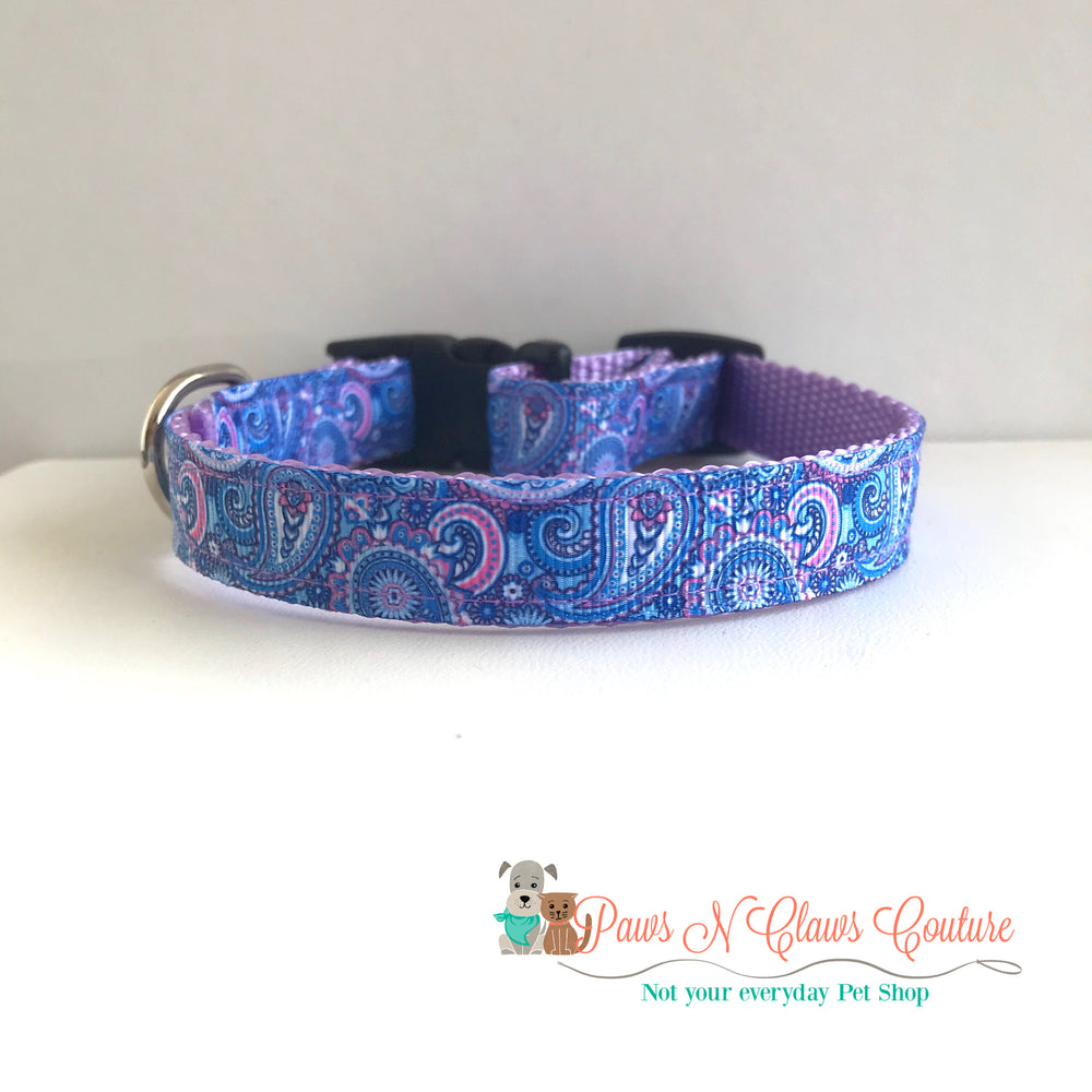 "5/8"" Purple paisley Dog Collar - Paws N Claws Couture"