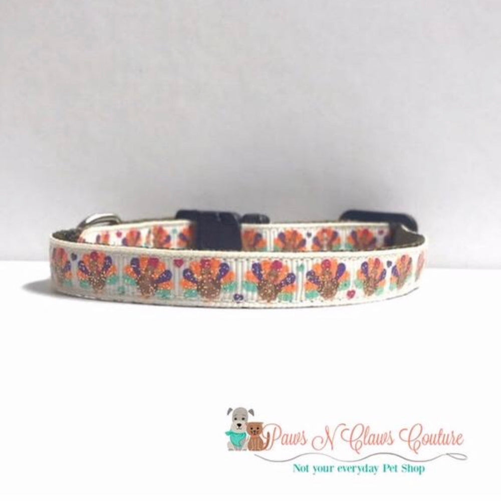 "3/8"" glitter turkeys and hearts Cat or Small Dog Collar"