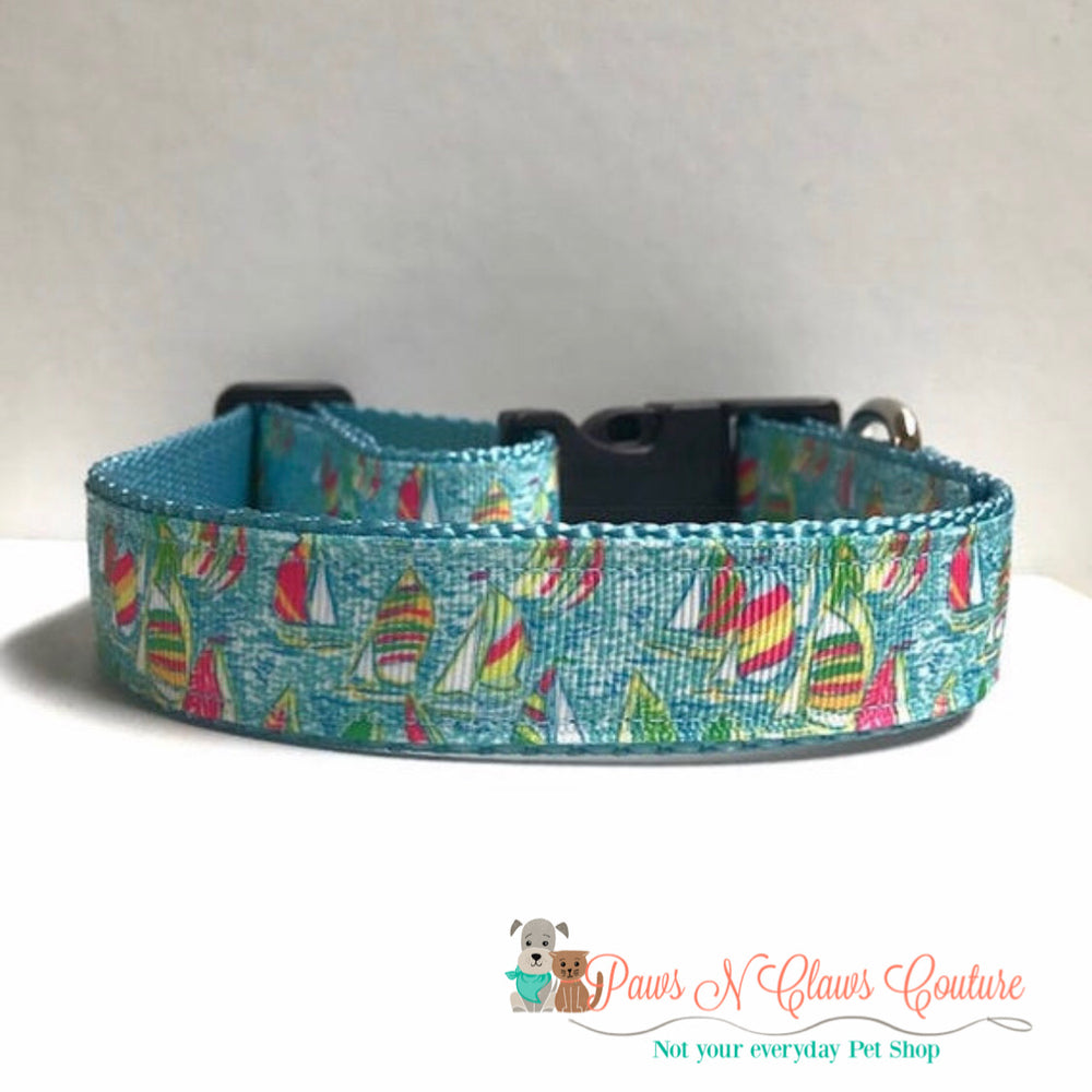 "1"" Lily inspired sailboats Dog Collar - Paws N Claws Couture"