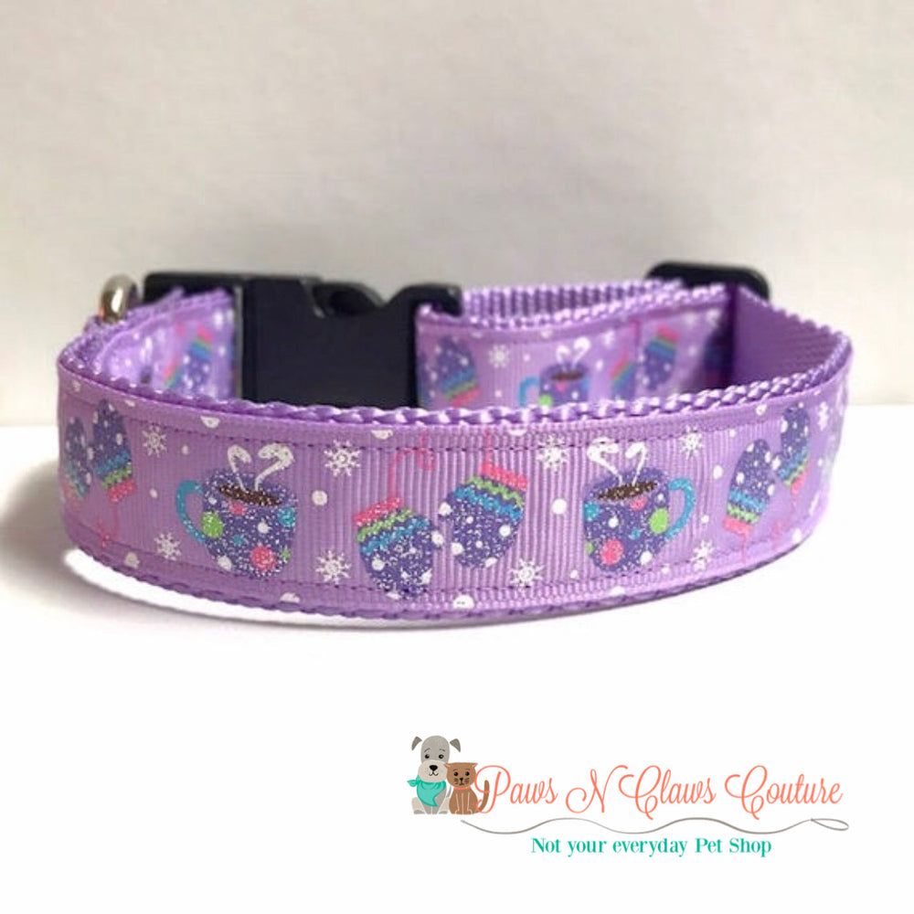 "1"" Mittens and Hot Chocolate Dog Collar - Paws N Claws Couture"
