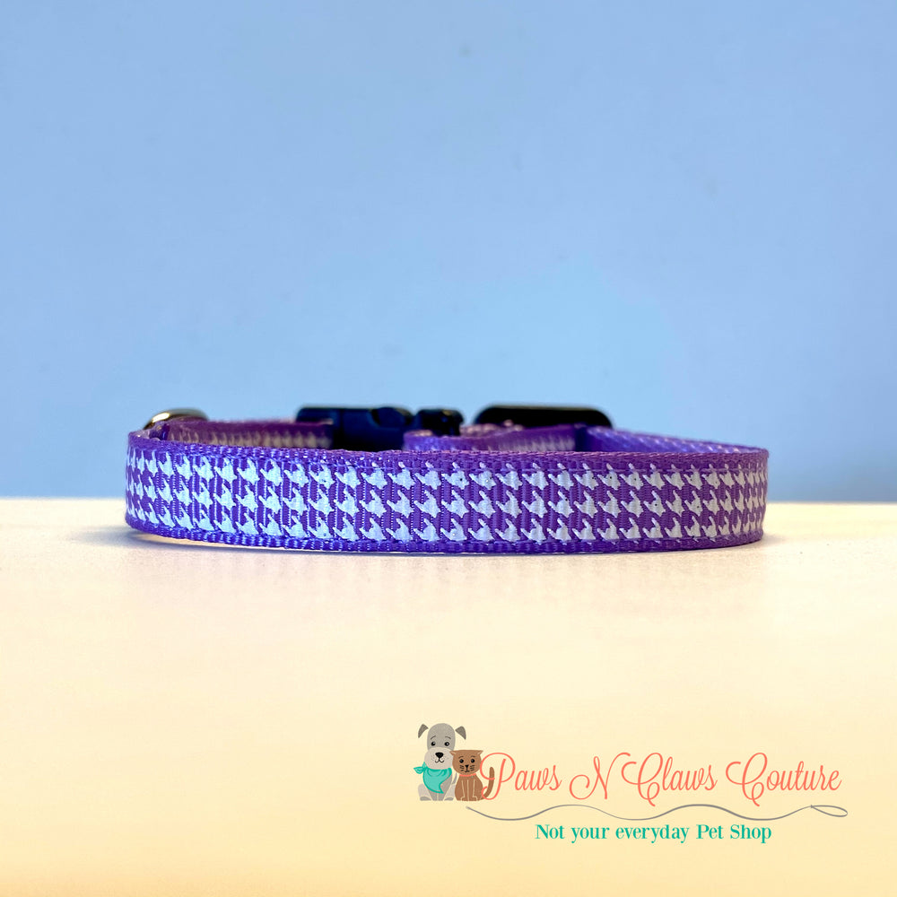 "3/8"" Houndstooth on Purple Cat or Small Dog Collar - Paws N Claws Couture"