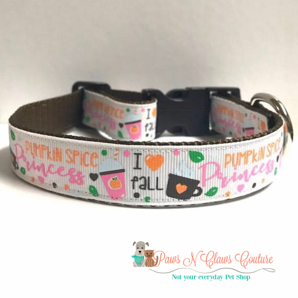 "1"" Pumpkin spice princess on white Dog Collar - Paws N Claws Couture"