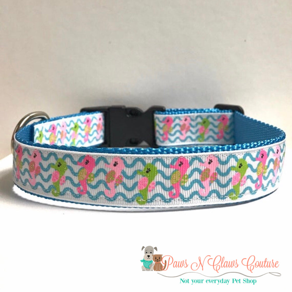 "1"" Seahorses and waves Dog Collar - Paws N Claws Couture"
