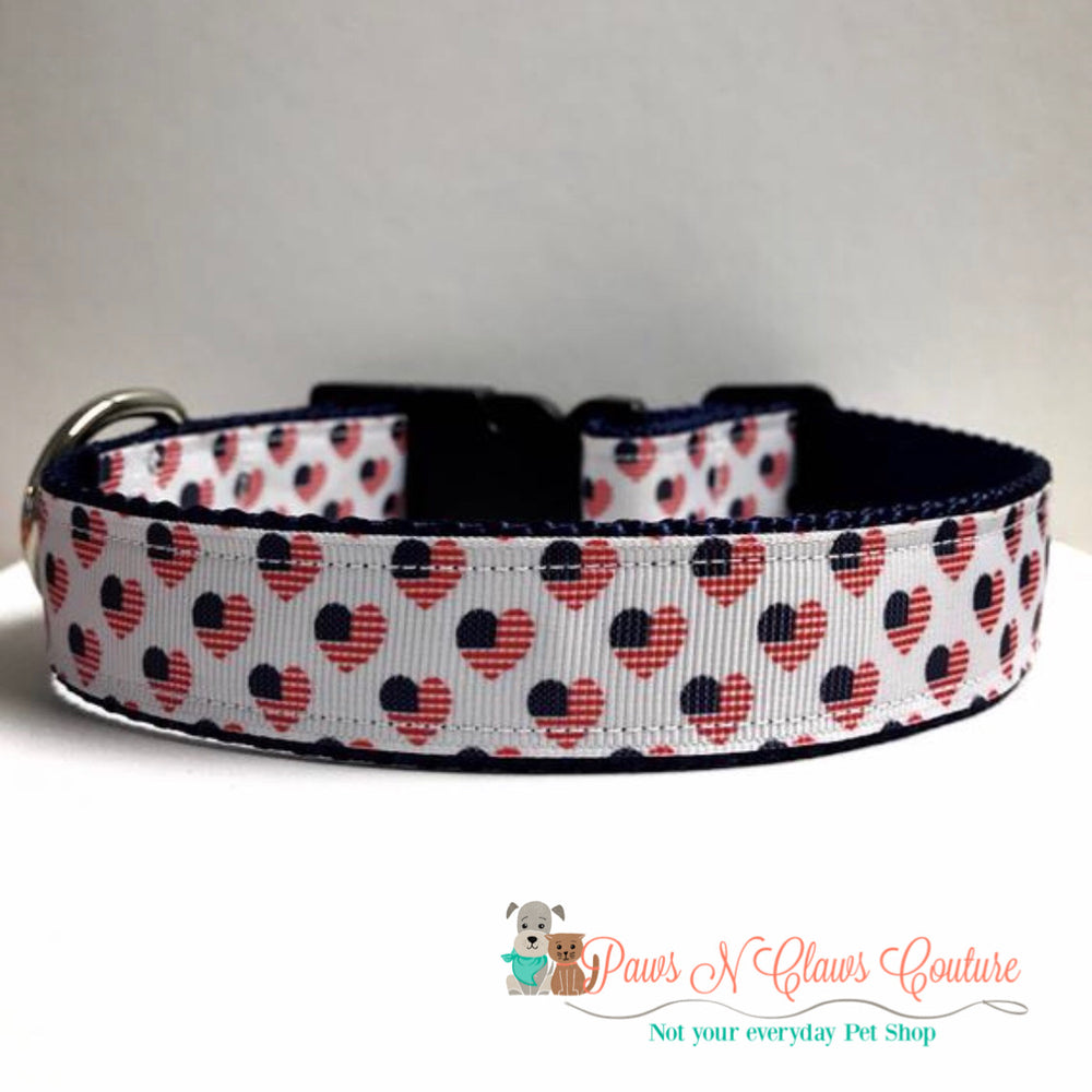 "1"" Flag hearts Dog Collar - Paws N Claws Couture"