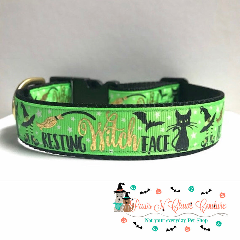 "1"" Resting witch face Dog Collar - Paws N Claws Couture"