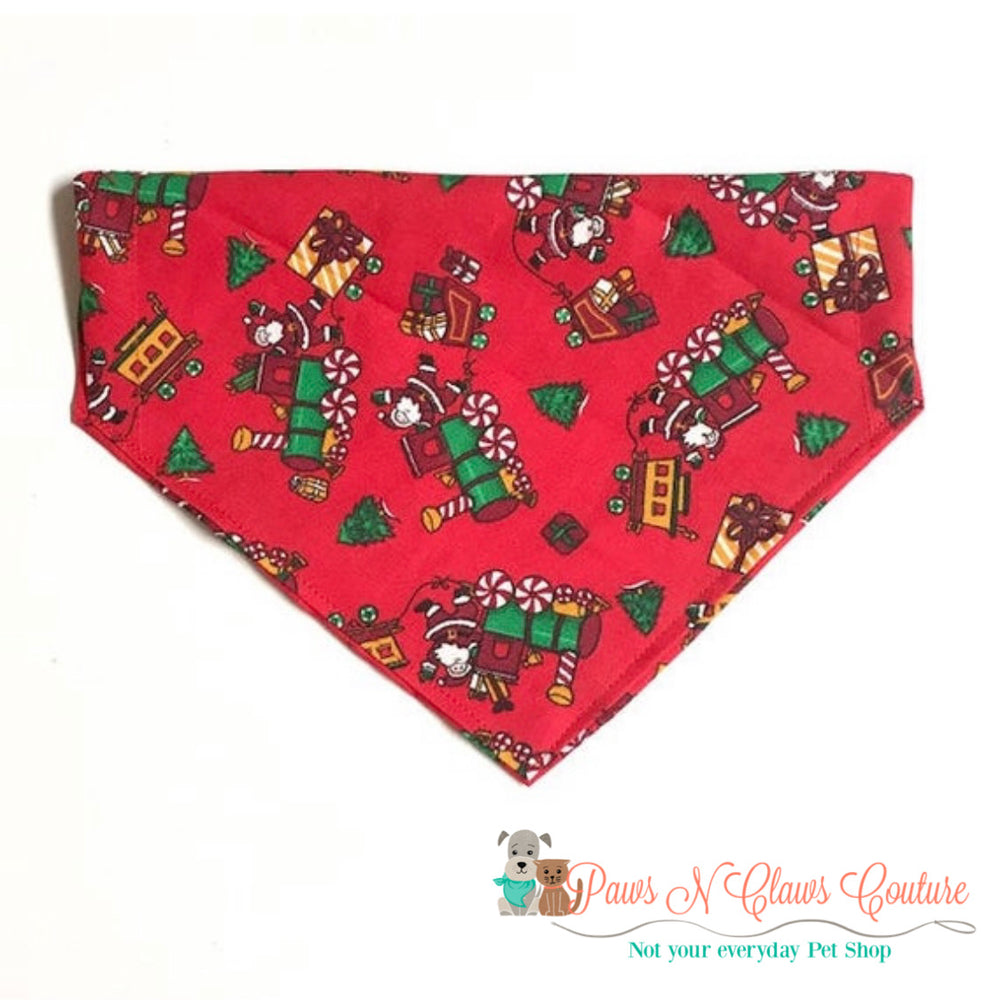 Santa and Toy Trains Bandana - Paws N Claws Couture