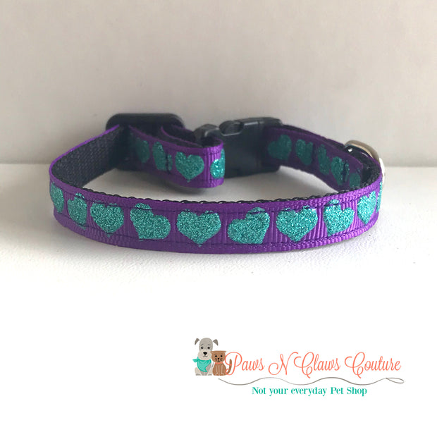 """3/8"""" Glitter teal hearts on purple Cat or Small Dog Collar 1"""