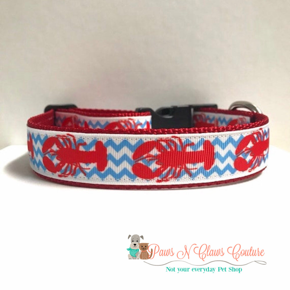"1"" Lobsters and blue chevron Dog Collar - Paws N Claws Couture"