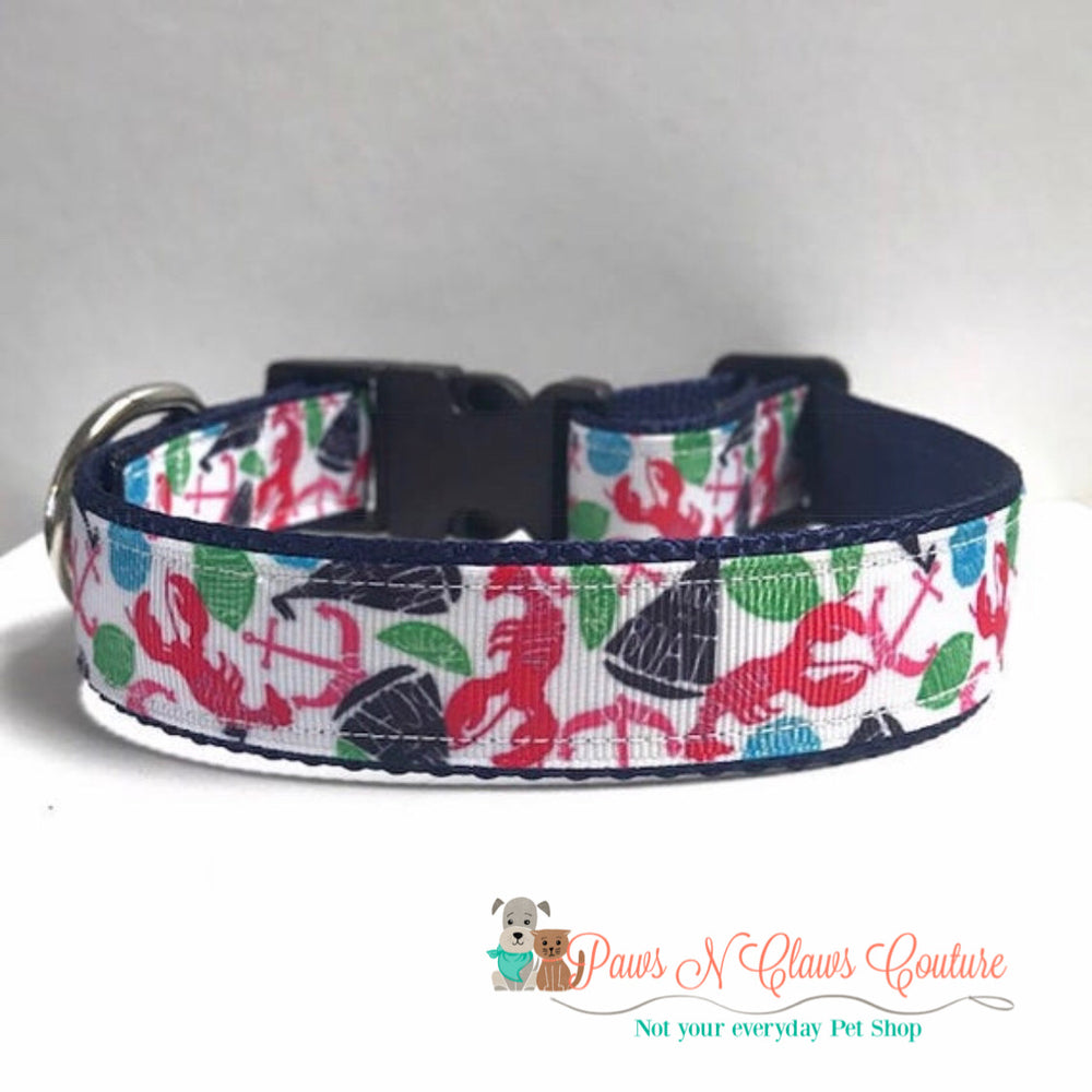 "1"" Lobsters & Boats Dog Collar"