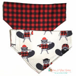 Reversible red and black plaid and burly beavers Bandana - Paws N Claws Couture