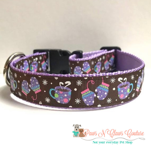 "1"" Mittens and hot chocolate on brown Dog Collar 1"