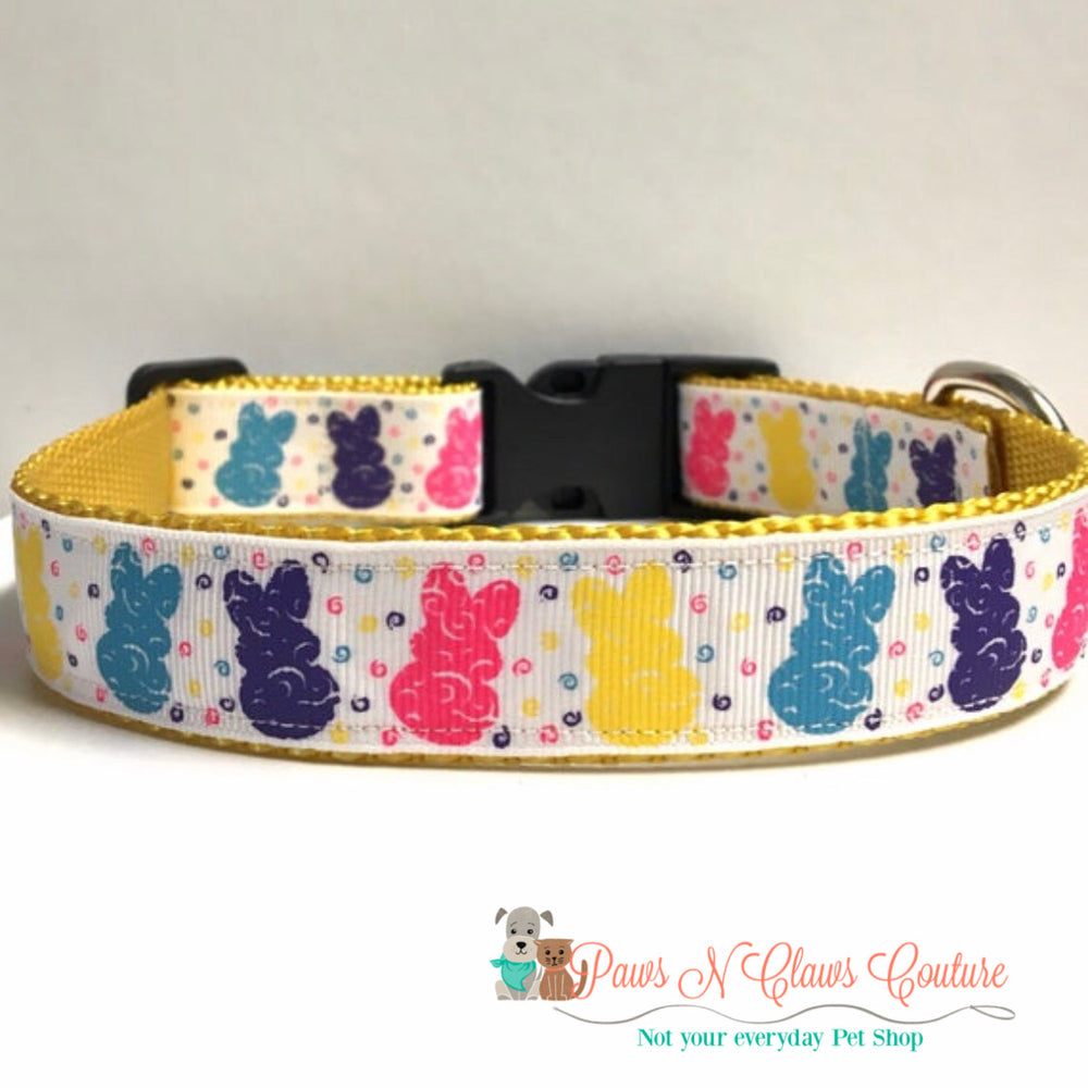 "1"" Bright Swirls Bunnies Dog Collar - Paws N Claws Couture"