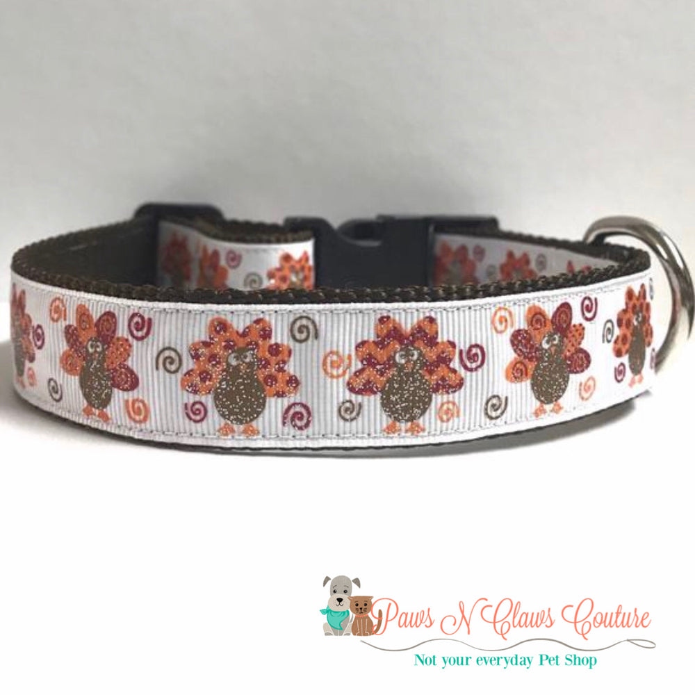 "1"" Burgundy Turkeys  Dog Collar - Paws N Claws Couture"