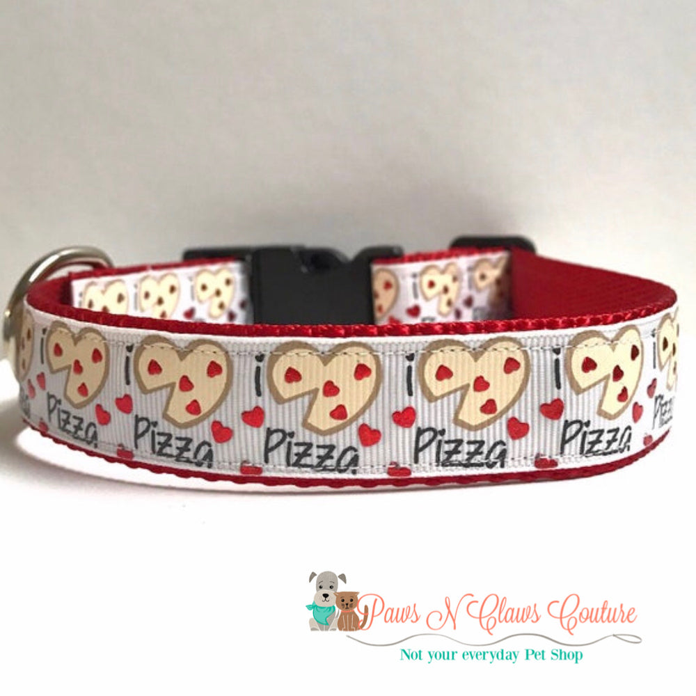 "1"" I love Pizza Dog Collar - Paws N Claws Couture"